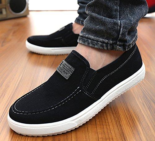 Aisun Casual Herenschoenen Voor Heren Canvas Sneakers Zwart