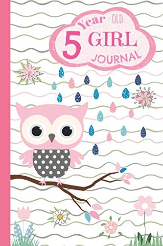 5 Year Old Girl Journal: Small Pink Owl Happy Birthday Notebook - Wide Ruled and Blank Framed Sketchbook Pages, Cute Diary for Five Year Old Kids to Keep Memories, Sketch and Draw