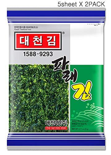 Korean Daecheon Snacks Organic Premium Roasted Seaweed, Laver Parae Gim 5 sheets X 2PACK