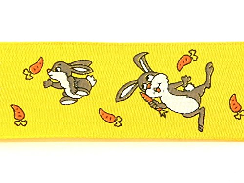 40mm Wire Edge Easter Bunnies Print Ribbon Yellow - per 20 metre roll