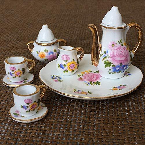 Philohewen 8pcs Dining Ware Porcelain Tea Set Dish Cup Plate 1/6 Dollhouse Miniature Pink Rose Dollhouse Ceramic Tea Set