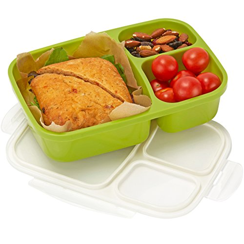 Leakproof, 3 Compartment, Bento Lunch Box, Airtight Food Storage Container - Green by Sunsella