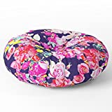 Society6 Summer Bright Antique Floral Print With Hot Pink, Yellow, And Navy V2 Floor Pillow Round 26'' x 26''