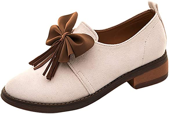 Women Leather Flat Loafers Bow-Knot Vintage Casual Slip-on Working Shoes