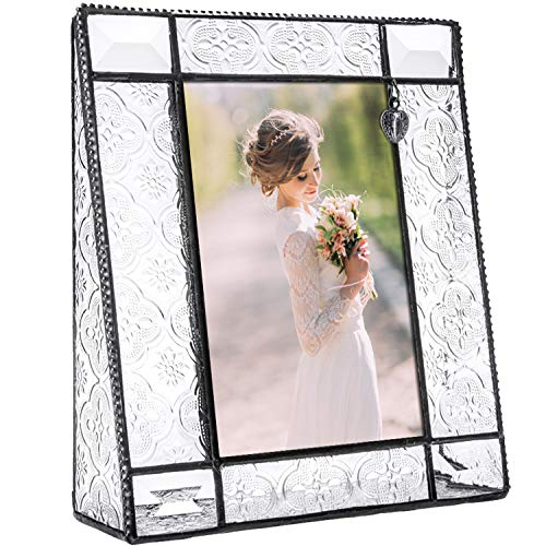 J Devlin Pic 278-46V Picture Frame Clear Vintage Glass Tabletop 4 x 6 Vertical Photo Heart Charm