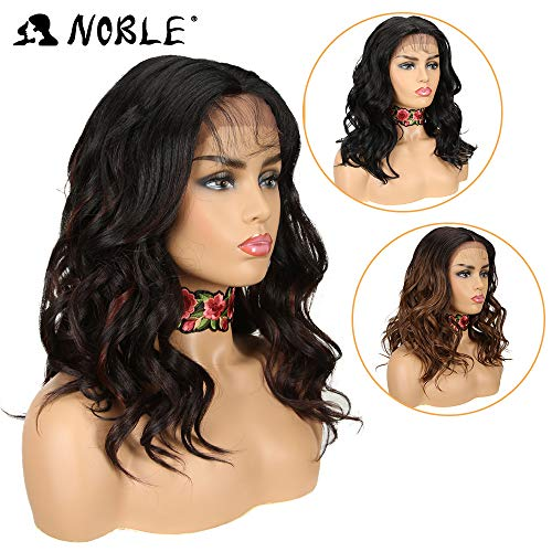 NOBLE Lace Front Synthetic Wig Fashion Colorful Ombre Natural Curly Middle Long Hair Wigs Middle Part Reaching Shoulder Wig (18inches, TTFV1B/4/33F)