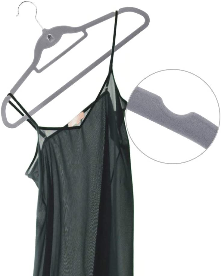 Non-Slip Ultra Thin Flocked Clothes Racks with Notches /& Bar Perfect for Space Saving Lelestar Velvet Clothes Hangers 40 x Coat Suit Trousers Hanger Black