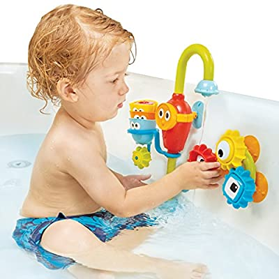 Baby Bath Toy- Spin N Sort Spout Pro- Three Stackable Cups, Automated Spout, and Spinning Suction Cup Gears from Yookidoo