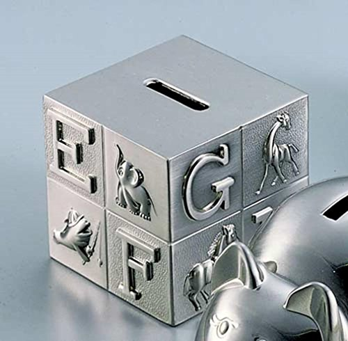 Pewter Brush Finish Alphabet Block Baby Bank