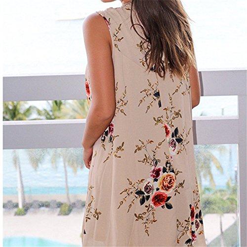 IHRKleid Mujeres Vestido Gasa Floral Hueco con Lace sin Hombro para Verano caqui