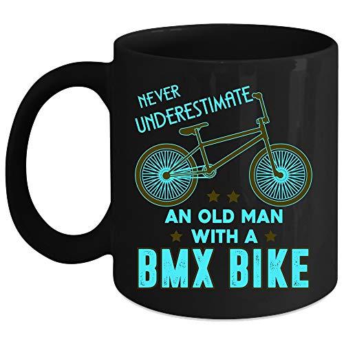 Never Underestimate An Old Man With A BMX Bike Coffee Mug, Funny Grandpa Coffee Cup, Perfect for Wine, Coffee, Tea (Coffee Mug 11 Oz - ()