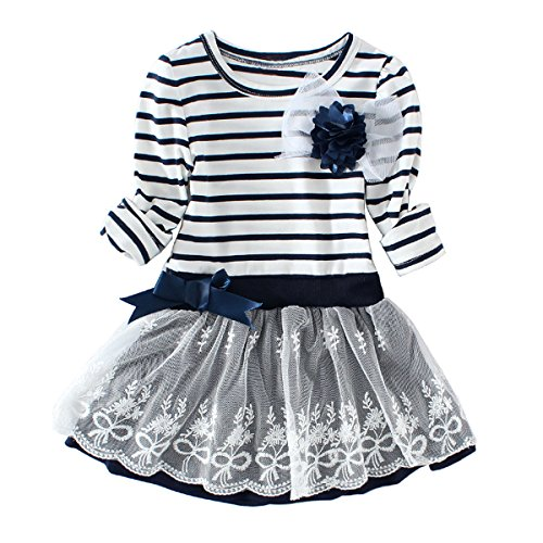 Jastore Little Girls' Dress Cute Striped Flower Long Sleeve Princess Dresses (4-5T, Blue)