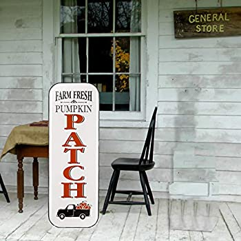 Glitzhome Porch Sign Pumpkin Porch Sign Decor 43 Inches Height Fall Decor Enameled Porch Sign Metal for Harvest