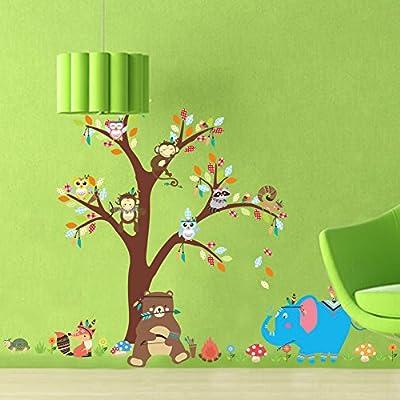 Fymural Cartoon Kid Bedroom Decor - Forest Animal Monkey Owls Hedgehog Tree Wall Sticker Baby Swing Nursery Murals Decals DIY Vinyl Removable Wall Art for Kids Girls Room (Y150): Home Improvement