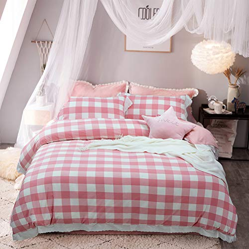 Softta Vintage Ruffle Buffalo Plaid Bedding Set 3 pcs 100% Pure Natural Yarn Dyed Washed Cotton 1 Duvet Cover + 2 Pillowcases Check Pattern White and Pink Twin - Pink Gingham Comforter