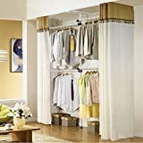 Adjustable Hanger Clothing Rack, Aiernuo Clothes/Garment Racks 2-Tier Steel Pipe Coat Hangers Heavy-Duty with Ivory Curtain