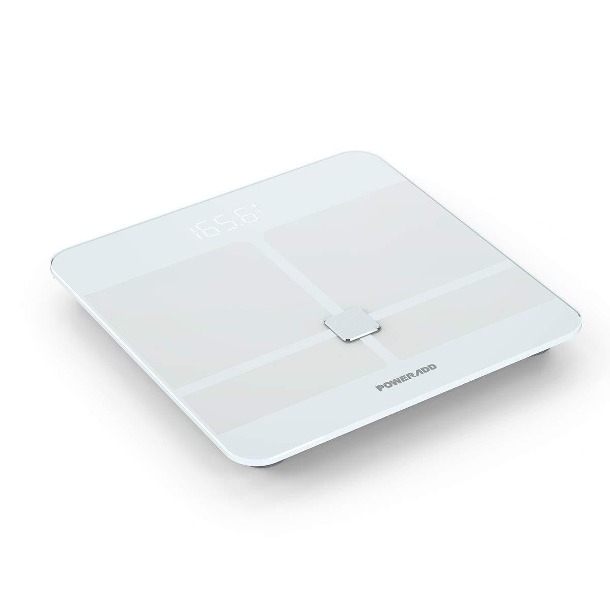 Poweradd Pèse Personne Impédancemètre, Balance corporelle Bluetooth Haute Précision Mesure du Poids, Graisse, Masse Musculaire et Osseuse, Eau, Ecran Rétroéclairé pour iOS et Android, etc.