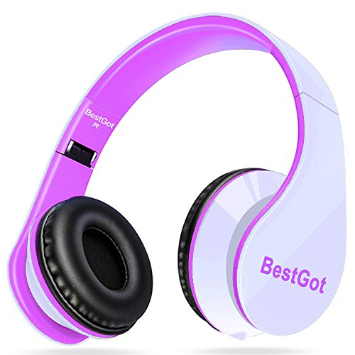 [New Style] BestGot Headphones Over Ear with microphone In-line Volume with Transport Waterproof Bag Foldable Headphone with 3.5mm plug removable cord (White/Pink)