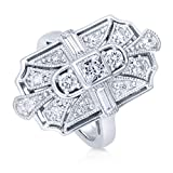 BERRICLE Rhodium Plated Silver Princess Cut Cubic Zirconia CZ Art Deco Cocktail Ring Size 7.5