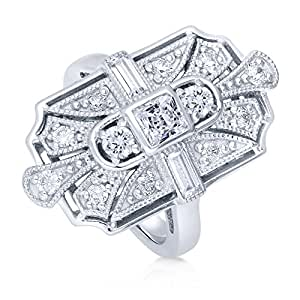 BERRICLE Rhodium Plated Sterling Silver Cubic Zirconia CZ Art Deco Statement Ring Size 4