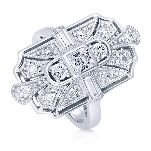 BERRICLE Rhodium Plated Sterling Silver Cubic Zirconia CZ Statement Art Deco Milgrain Cocktail Fashion Right Hand Ring Size - Sterling Plated Baguette Silver
