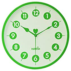 HIPPIH 10 Inch Silent Wall Clock, Battery Operated Round Clock - Easy to Read for Home/Office/School, Green