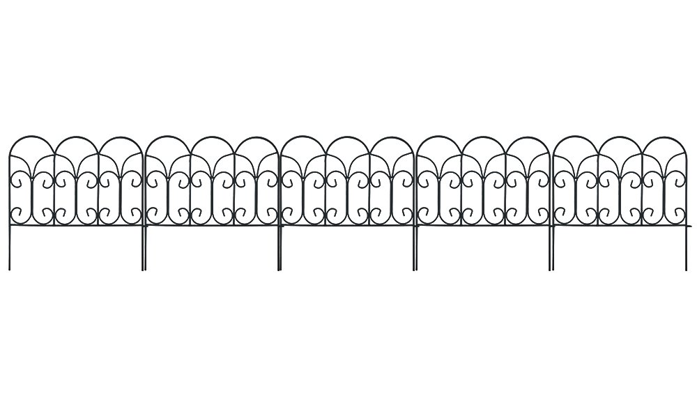 Amagabeli Decorative Garden Fence Coated Metal Outdoor Rustproof 18in x 7.5ft Landscape Wrought Iron Wire Border Fencing Folding Patio Fences Flower Bed Barrier Section Panel Decor Picket Edging Black by AMAGABELI GARDEN & HOME (Image #1)