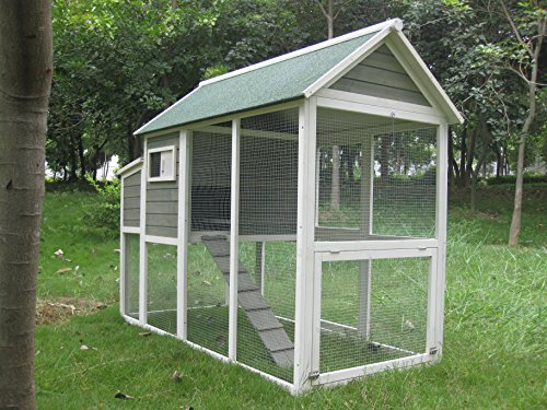Coops & Feathers Wooden Asphalt Roof Chicken Coop, 35 x 74 x 57