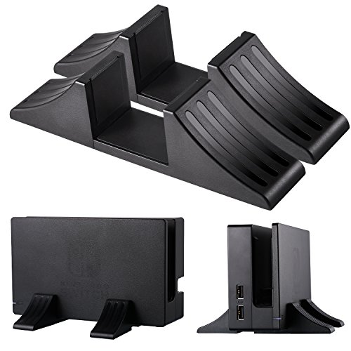 Jovitec Game Handheld Game Compact Play Stand Mount Cradle Holder Steady Base for Nintendo Switch, Playstation 4 Console, Xbox One and Other Consoles, Black, 2 packs