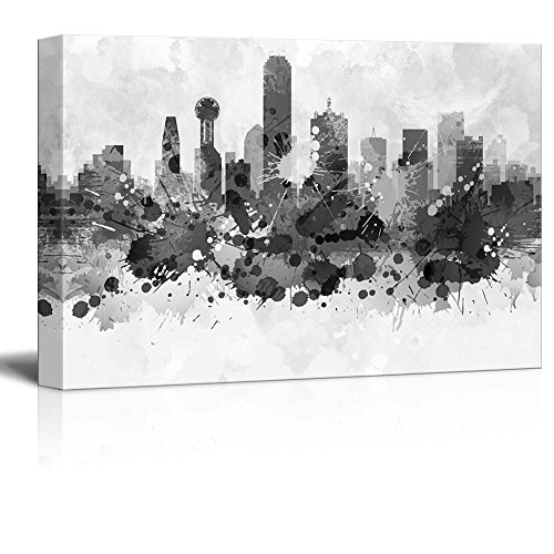 wall26 Black and White City of Dallas in Texas with Watercolor Splotches - Canvas Art Home Decor - 24x36 inches