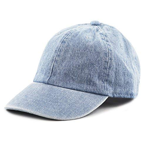 The Hat Depot Kids Washed Low Profile Cotton and Denim Plain Baseball Cap Hat (6-9yrs, Light Denim)