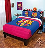 BARCELONA FOOTBALL CLUB ORIGINAL FUZZY FLEECE BLANKET,SHEET SET AND WINDOWS PANLES 6 PCS TWIN