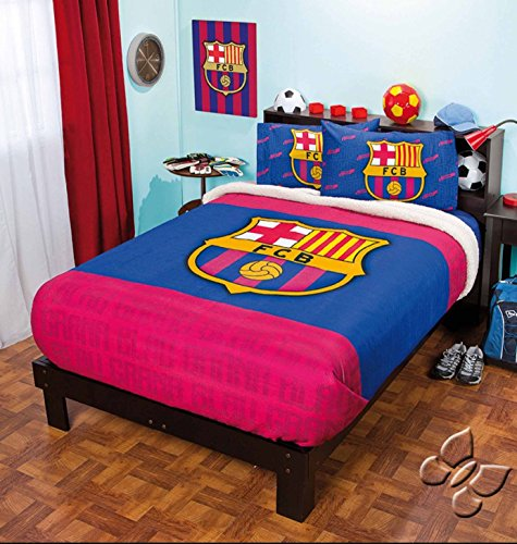 BARCELONA FOOTBALL CLUB ORIGINAL FUZZY FLEECE BLANKET AND SHEET SET 4 PCS TWIN by JORGE'S HOME FASHION