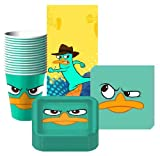 Disney Phineas & Ferb Agent P Party Supplies Pack Including Plates, Cups, Napkins and Tablecover- 16 Guests