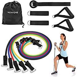 WENFENG Resistance Band Set, Workout Bands Include 5 Exercise Bands, Door Anchor, Foam Handles, Ankle Straps and Carrying Bag for Resistance Training, Physical Therapy, Home Workouts