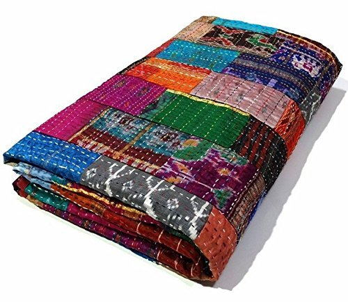 Third Eye Export Indian Queen Size Patchwork Silk Kantha Quilt 90x108 Inch Bedcover Silk Patola Quilt Throw Blanket (Multicolor Patchwork)