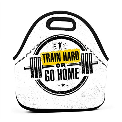 Portable Lunch Bag Carry Case Tote Container Bags,Train Hard Or Go Home Stamp Like Design Strong Sportsman Barbell Circle,Unisex Outdoor Travel Fashionable Handbag Pouch for Kids