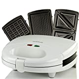 OVENTE GPI202W 3-in-1 Electric Sandwich Maker with Detachable Non-Stick Waffle and Grill Plates, 750-Watts, LED Indicator Lights, Cool Touch Handle, Anti-Skid Feet, 2-Slice, GPI202W-White
