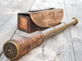 Brass Engraved Telescope 16'' With Stamped Leather Case