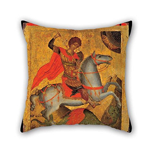 The Oil Painting Chanter Angelos Akotandos - St George On Horseback, Slaying The Dragon Throw Cushion Covers Of 18 X 18 Inches / 45 By 45 Cm Decoration Gift For Bar Seat Kids Boys Kids Girls Valen ()