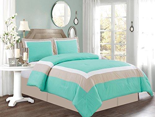 3 Piece TWIN Size TURQUOISE BLUE / WHITE / GREY Color Block MILAN Goose Down Alternative Comforter set 34