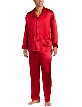 Intimo Men's Classic Silk Pajamas, Red, Small