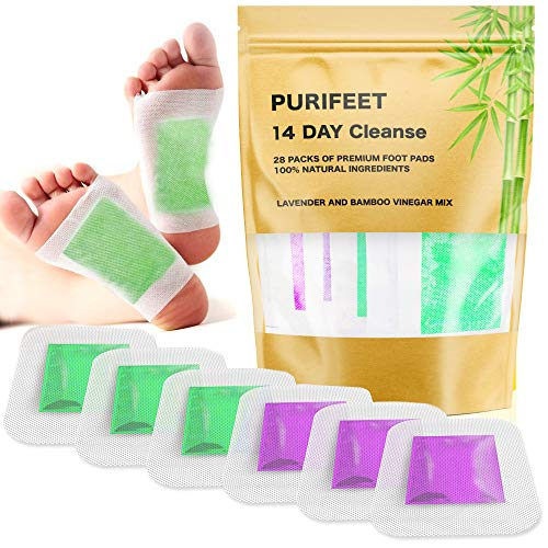 2 in 1 Foot Pads for Cleansing, Better Sleep, Stress Relieve, Increased Energy - 28 Premium Bamboo Vinegar and Lavender Patches - All Natural and Organic Ingredients, FDA Certified, Strongest Adhesive (Eye Pads Kinoki)