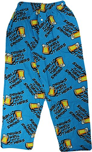 Fun Boxers Mens Beer & More Beer Fun Prints Pajama & Lounge Pants, Drinks Well With Others, Large