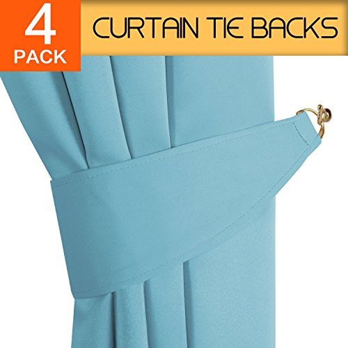 (H.VERSAILTEX Tiebacks for Draperies Home Office Decorative Drapes Holdbacks Holders Tie Back Hooks for Curtains, Aqua, 2 Pair / 4 Pieces)