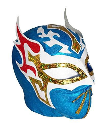 SIN CARA LYCRA Youth Lucha Libre Wrestling Mask - KIDS Costume Wear - BLUE]()
