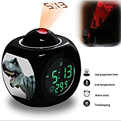 Projection Alarm Clock Wake Up Bedroom with Data and Temperature Display Talking Function, LED Wall/Ceiling Projection, Dinosaur-156.25_Dinosaur, Dino, Giant Lizard, Replica