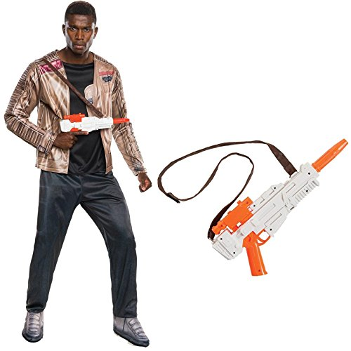 Star Wars The Force Awakens Finn Costume Bundle Set - Deluxe Adult One-Size Costume and Blaster (Deluxe Adult Costume Set)