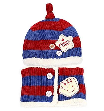 JT-Amigo Sciarpa e Berretto Cappello Invernale a Maglia Bimba Bambina Disegni Baseball Blu /& Rosso