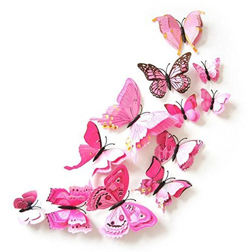 Vsecrety 36pcs 3D Butterfly Stickers Making Stickers Wall Stickers Crafts Butterflies with Sponge Gum ( pink )